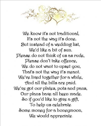 Wedding Money Poem Cards -   3 different poems -  Heart Scroll - set of 24